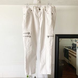 Paige White Cropped Ankle Jeans
